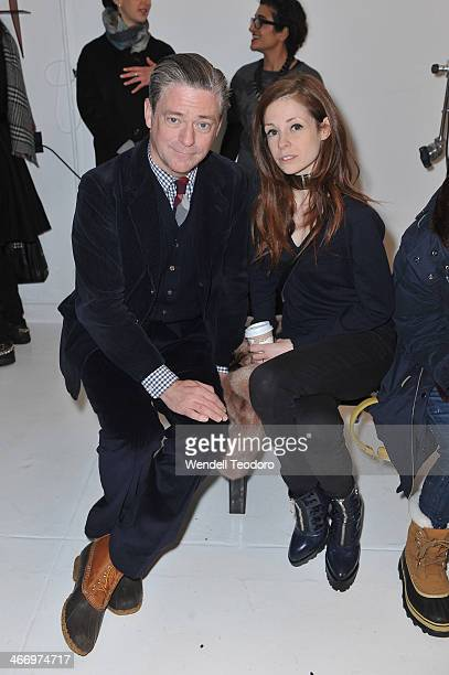 Artist Peter McGough and Author Stephanie LaCava attends the Organic By John Patrick show during MercedesBenz Fashion Week Fall 2014 at 245 West 29th...