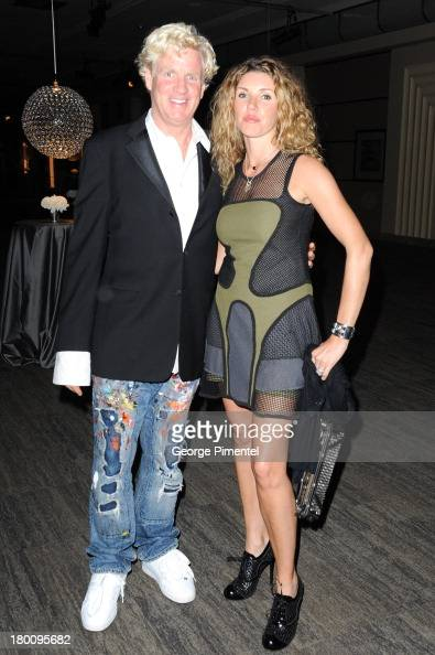 Artist Peter Tunney and wife Amy Tunney attend amfAR Inspiration Gala during the 2013 Toronto International Film Festival at The Carlu on September 8...
