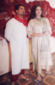 Artist Puneet Kaushik with Shabana Azmi at the launch of his art exhibition at Gallery Beyond