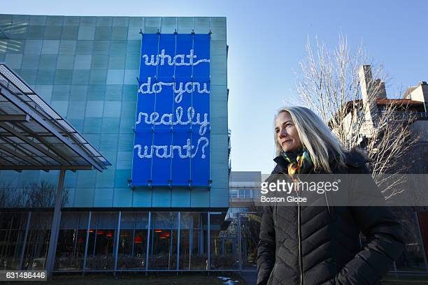 Artist Rachel Perry Welty stands in front of her sitespecific work entitled 'What Do You Really Want' at the Isabella Stewart Gardner Museum in...