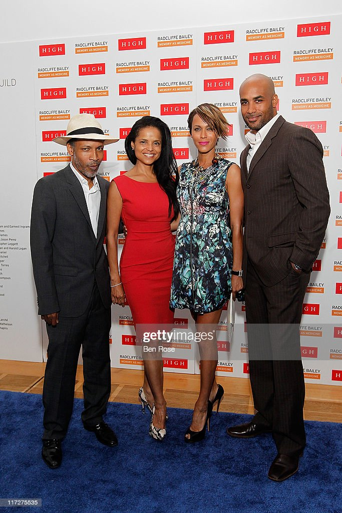 Artist Radcliffe Bailey and his wife actress <a gi-track='captionPersonalityLinkClicked' href=/galleries/search?phrase=Victoria+Rowell&family=editorial&specificpeople=202576 ng-click='$event.stopPropagation()'>Victoria Rowell</a> pose with actress <a gi-track='captionPersonalityLinkClicked' href=/galleries/search?phrase=Nicole+Ari+Parker&family=editorial&specificpeople=884033 ng-click='$event.stopPropagation()'>Nicole Ari Parker</a> and her husband <a gi-track='captionPersonalityLinkClicked' href=/galleries/search?phrase=Boris+Kodjoe&family=editorial&specificpeople=240156 ng-click='$event.stopPropagation()'>Boris Kodjoe</a> during a private reception for the opening of the exhibition 'Radcliffe Bailey : Memory as Medicine' at High Museum of Art on June 24, 2011 in Atlanta, Georgia.