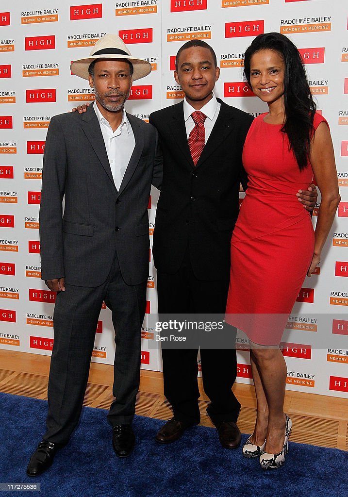 Artist Radcliffe Bailey, his step-son Jasper Marsalis and his wife actress Victoria Rowell pose during a private reception for the opening of the exhibition 'Radcliffe Bailey : Memory as Medicine' at High Museum of Art on June 24, 2011 in Atlanta, Georgia.