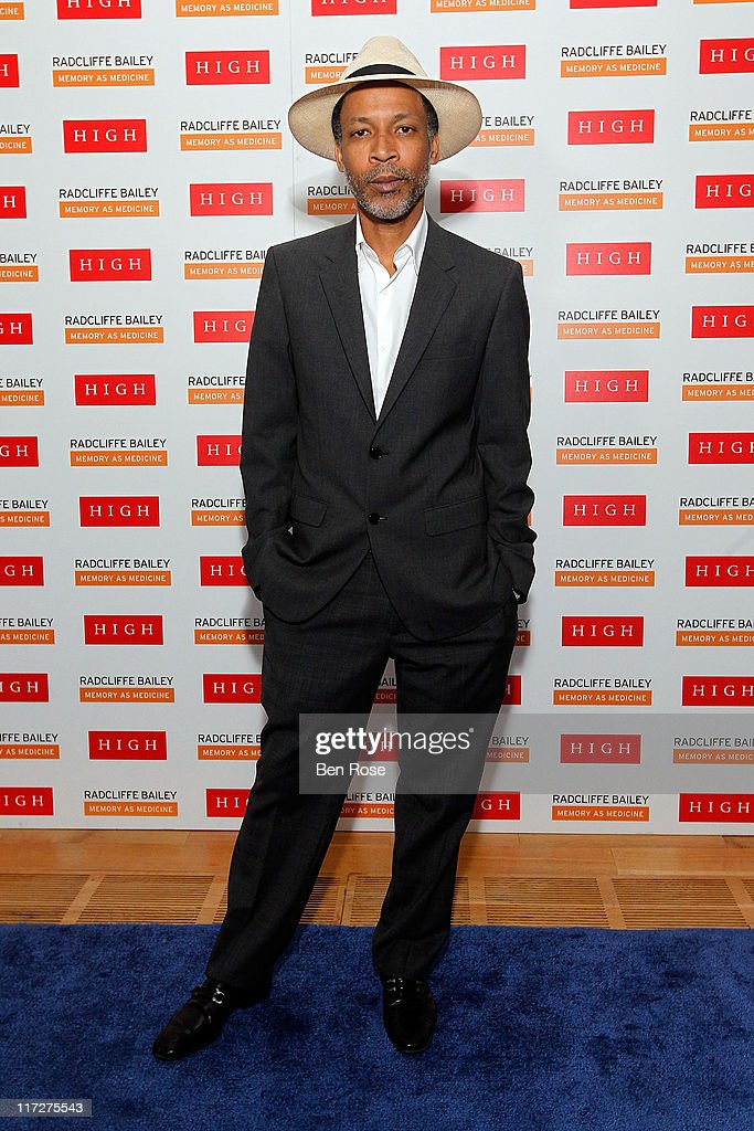 Artist Radcliffe Bailey poses during a private reception for the opening of his exhibition 'Radcliffe Bailey : Memory as Medicine' at High Museum of Art on June 24, 2011 in Atlanta, Georgia.