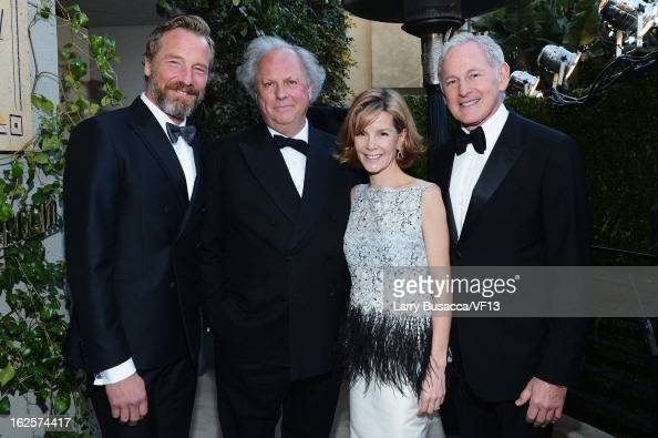 Artist Rainer Andreesen editorinchief of Vanity Fair Graydon Carter Anna Carter and actor Victor Garber arrive for the 2013 Vanity Fair Oscar Party...
