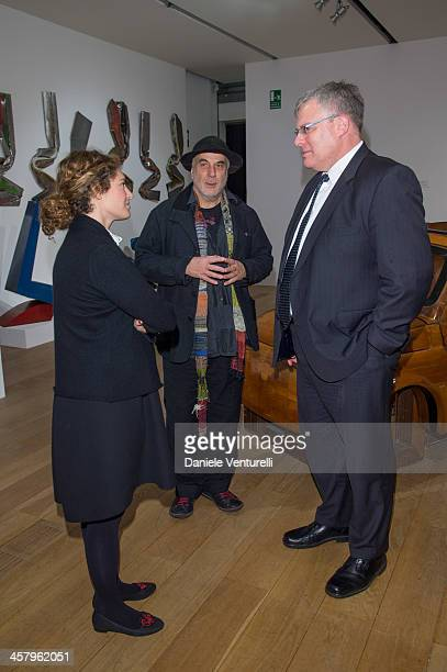 Artist Ron Arad Ambassador of Israel to Italy Naor Gilon and Ginevra Elkann attend Ron Arad 'In reverse' exhibition with Fiat as a main sponsor at...