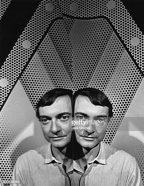Artist Roy Lichtenstein photographed with his work in 1968