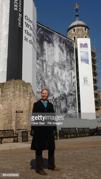 Artist Rydal Hanbury from St Albans stands in front of her winning entry of the Tower of London's Hung Quartered and Drawn competition
