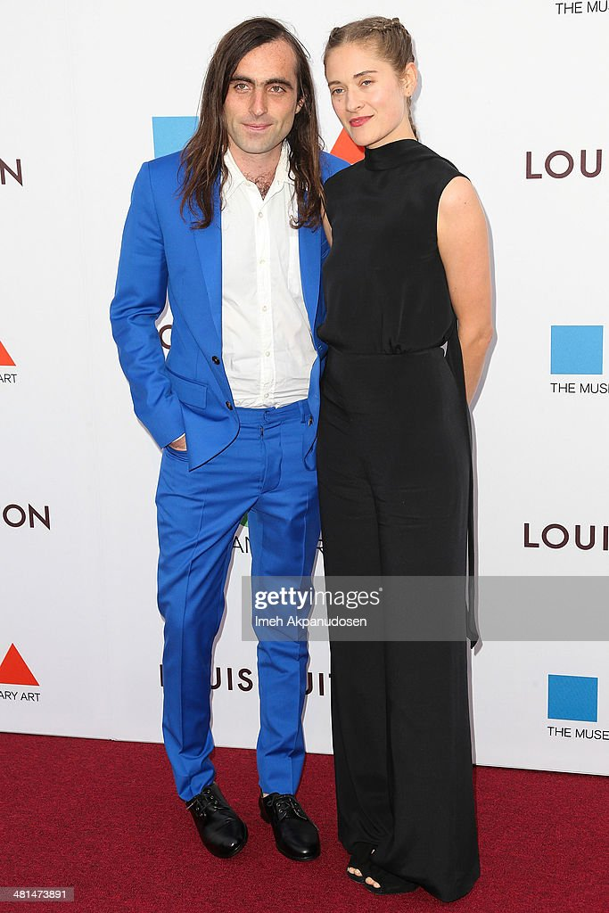 Artist Sam Falls (L) and gallery director Erin Falls attend The Museum Of Contemporary Art, Los Angeles, Celebrates 35th Anniversary Gala Presented By Louis Vuitton at The Geffen Contemporary at MOCA on March 29, 2014 in Los Angeles, California.