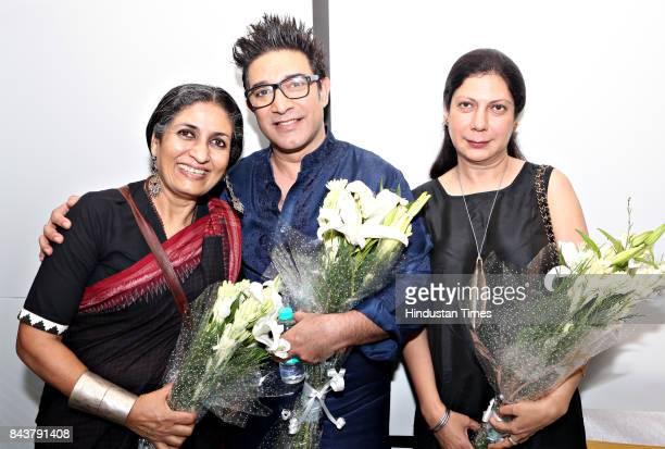 Artist Seema Kohli designer Suneet Varma and Harmeet Bajaj during an inauguration of new Prep School of Art and Design and Ednet Test Prep by Ednet...