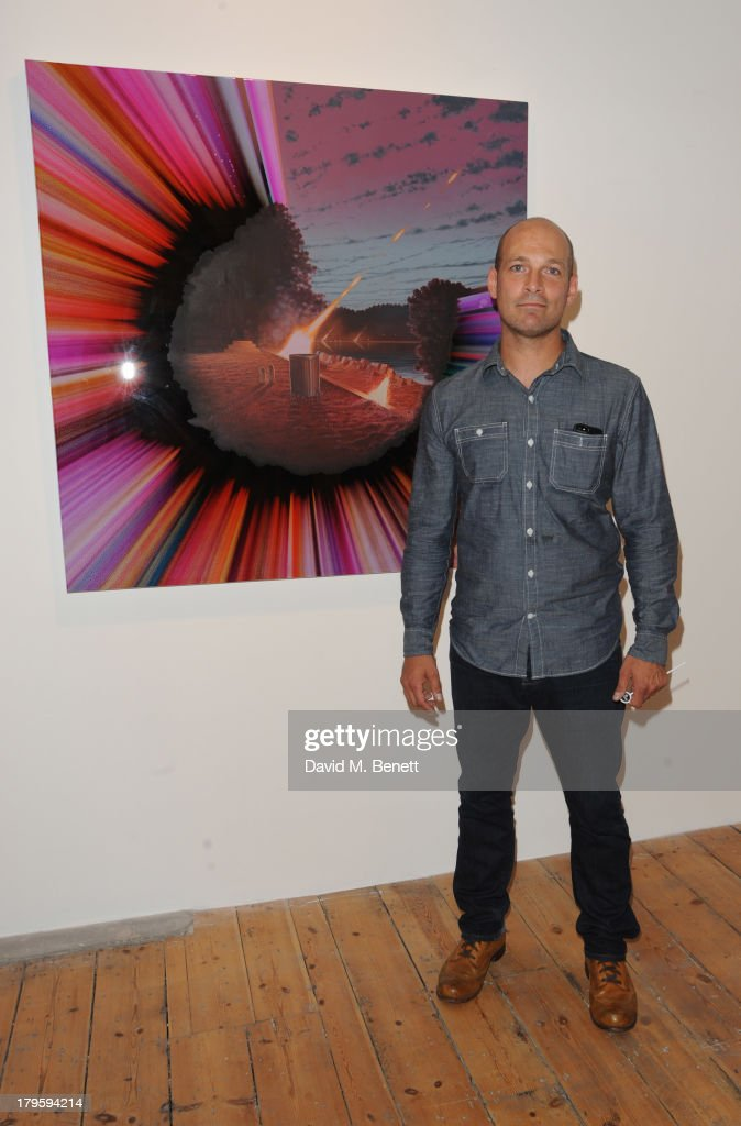 Artist Shane McAdams attends the VIP launch of the 'Hand To Earth' exhibition hosted by Matthew Williamson at Scream Gallery on September 5, 2013 in London, England.