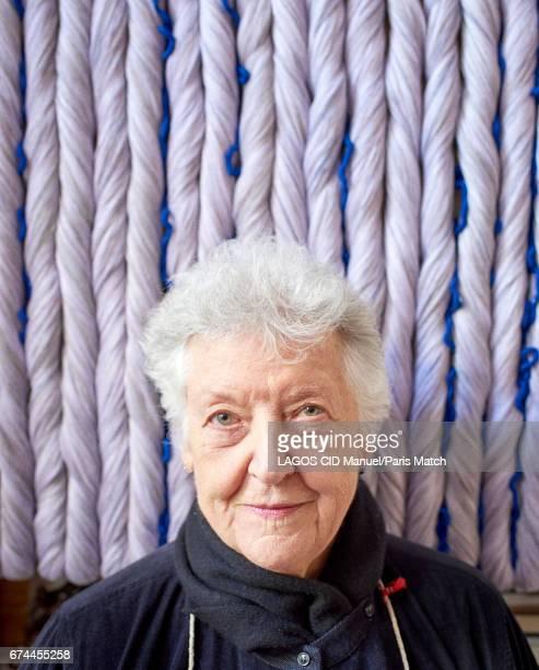 Artist Sheila Hicks is photographed for Paris Match on April 7 2017 in Paris France