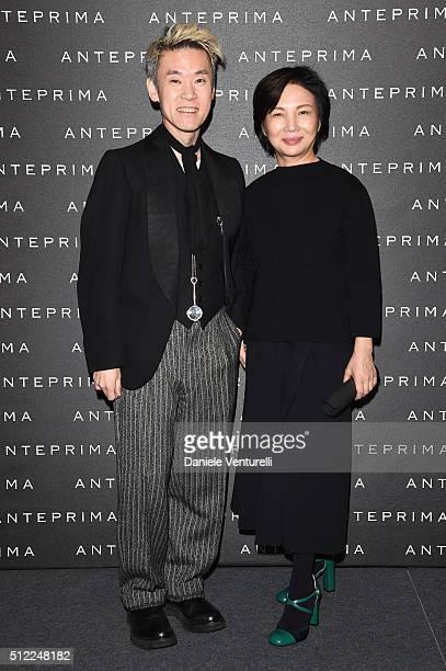 Artist Shinsuke Kawahara and designer Izumi Ogino attend the Anteprima show during Milan Fashion Week Fall/Winter 2016/17 on February 25 2016 in...