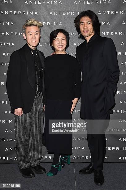 Artist Shinsuke Kawahara designer Izumi Ogino and artist Tsuchida Yasuhiko attend the Anteprima show during Milan Fashion Week Fall/Winter 2016/17 on...