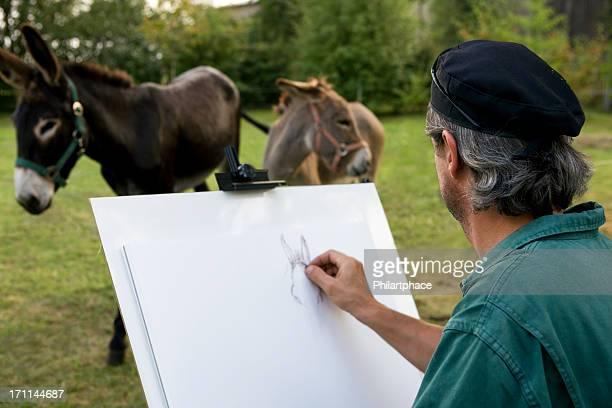 Artiste dessin dans un parc