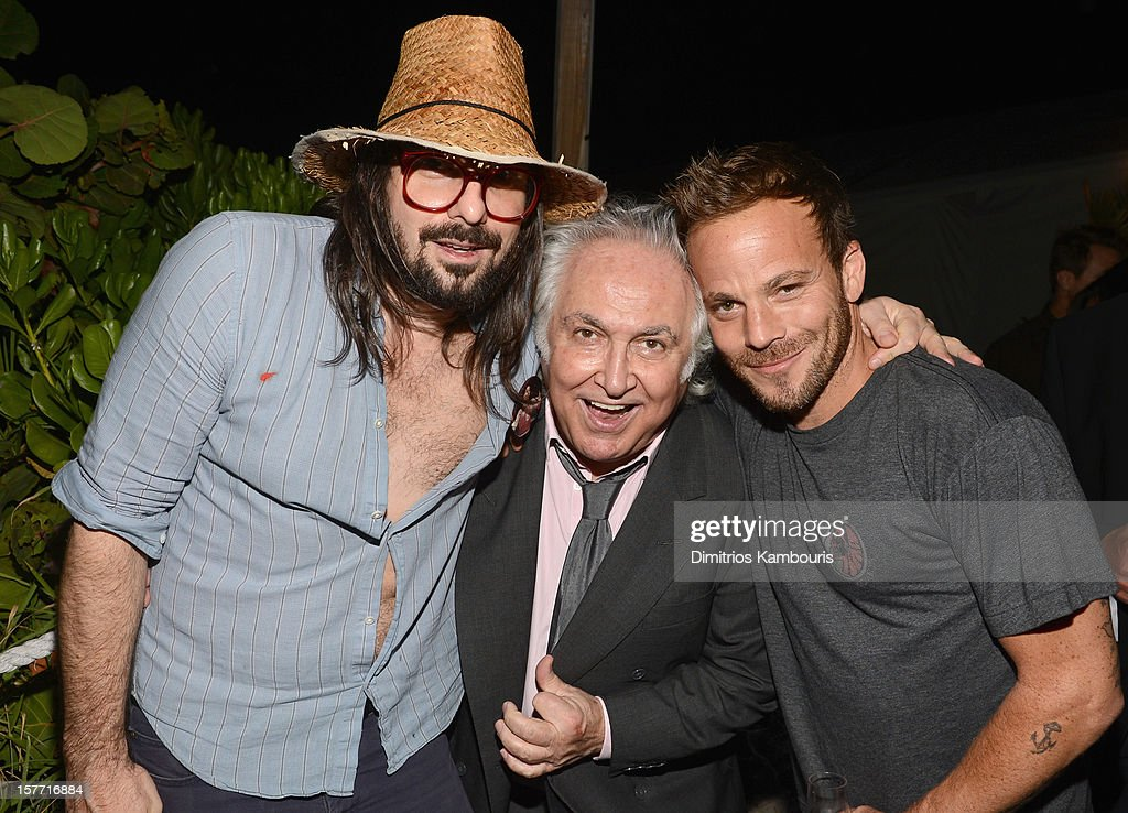 Artist Spencer Sweeney, art dealer <a gi-track='captionPersonalityLinkClicked' href=/galleries/search?phrase=Tony+Shafrazi&family=editorial&specificpeople=649753 ng-click='$event.stopPropagation()'>Tony Shafrazi</a> and actor <a gi-track='captionPersonalityLinkClicked' href=/galleries/search?phrase=Stephen+Dorff&family=editorial&specificpeople=206430 ng-click='$event.stopPropagation()'>Stephen Dorff</a> attend a Beachside Barbecue presented by CHANEL hosted by Art.sy Founder Carter Cleveland, Larry Gagosian, Wendi Murdoch, Peter Thiel and Dasha Zhukova at Soho Beach House on December 5, 2012 in Miami Beach, Florida.