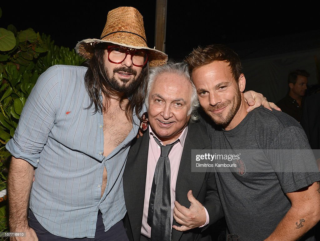 Artist Spencer Sweeney, art dealer Tony Shafrazi and actor Stephen Dorff attend a Beachside Barbecue presented by CHANEL hosted by Art.sy Founder Carter Cleveland, Larry Gagosian, Wendi Murdoch, Peter Thiel and Dasha Zhukova at Soho Beach House on December 5, 2012 in Miami Beach, Florida.