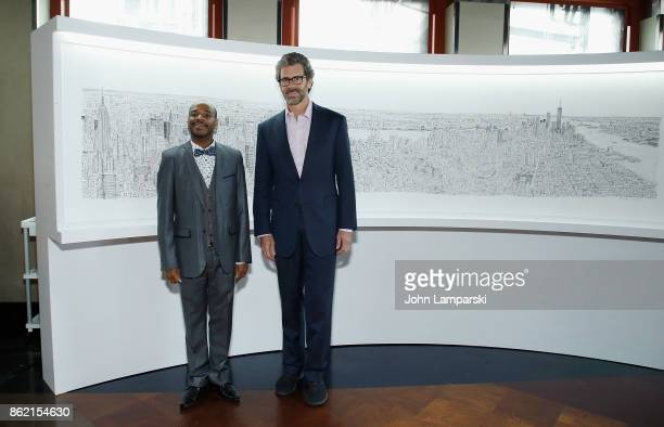 Artist Stephen Wiltshire and CEO of Empire Realty Trust Anthony E Malkin attend Empire State Building as it unveils commissioned cityscape by artist...