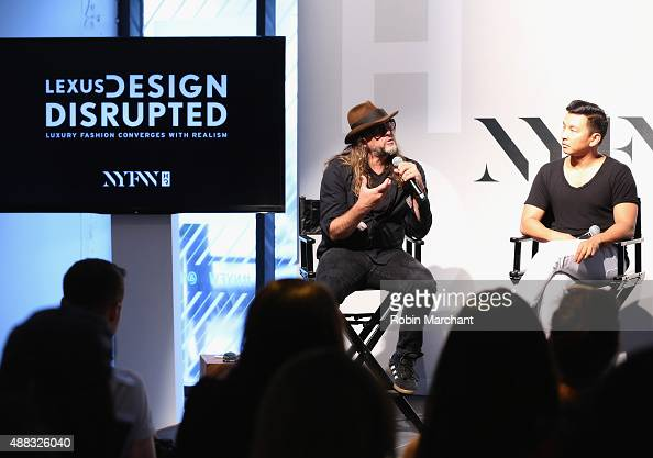 Artist Steven Sebring and fashion designer Prabal Gurung speak on stage during Spring 2016 New York Fashion Week The Shows Day 6 at NYFW The Shows HQ...