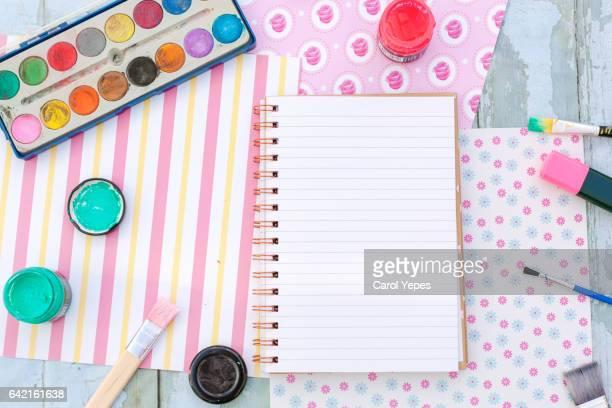 artist supplies workspace