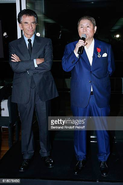 Artist Takeshi Kitano receives the French Legion of Honor By Jack Lang at Fondation Cartier on October 25 2016 in Paris France