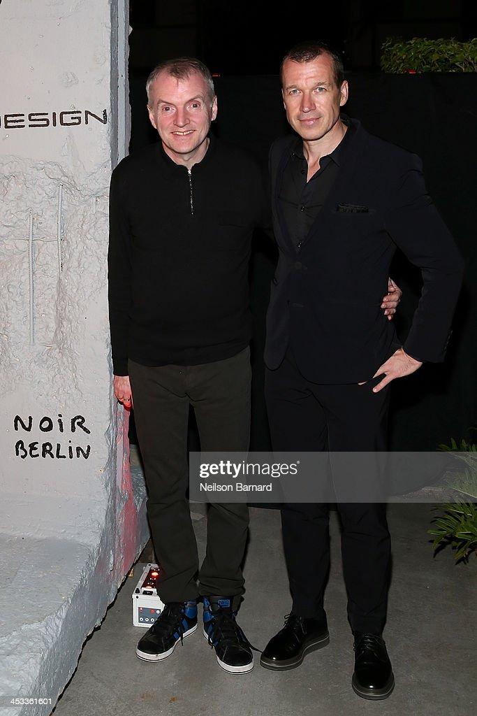Artist Thierry Noir and CEO of Porsche Design Group Juergen Gessler attend the Porsche Design x Thierry Noir Art Basel Miami Beach Event at The...