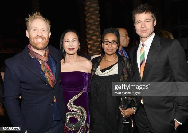 Artist Thomas Houseago 2017 ArtFilm Gala CoChair Eva Chow wearing Gucci Muna El Fituri and Brad Pitt wearing Gucci attend the 2017 LACMA Art Film...