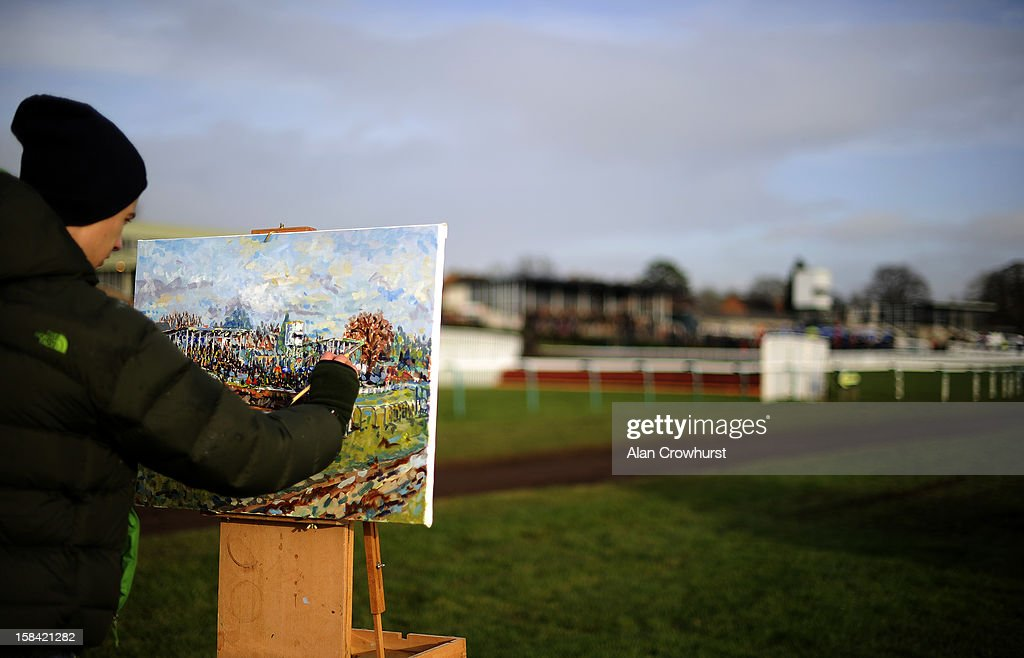Artist Tom Evetts paints a landscape of the course during the last meeting to be held at Hereford racecourse after 241 years of racing on December 16, 2012 in Hereford, England.