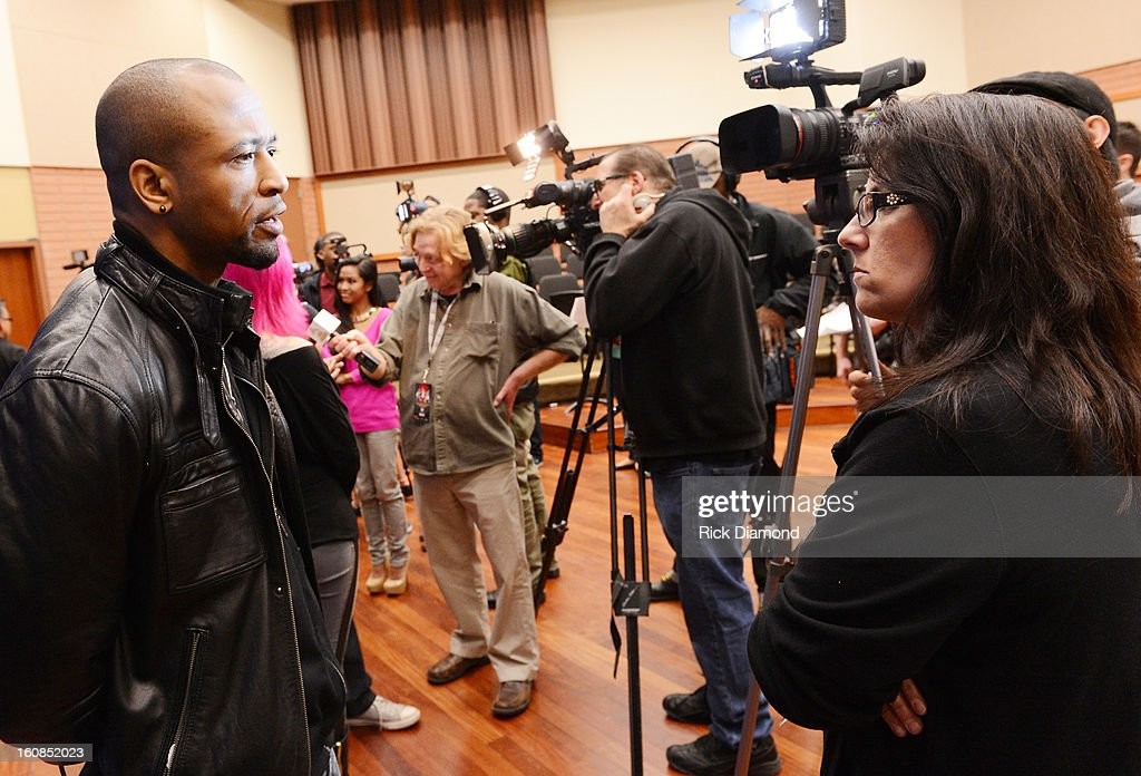 Artist Tony Rich talks with the press at The 55th Annual GRAMMY Awards - GRAMMY Camp Basic Training held on the campus of USC - Booth Ramos Hall on February 6, 2013 in Los Angeles, California.