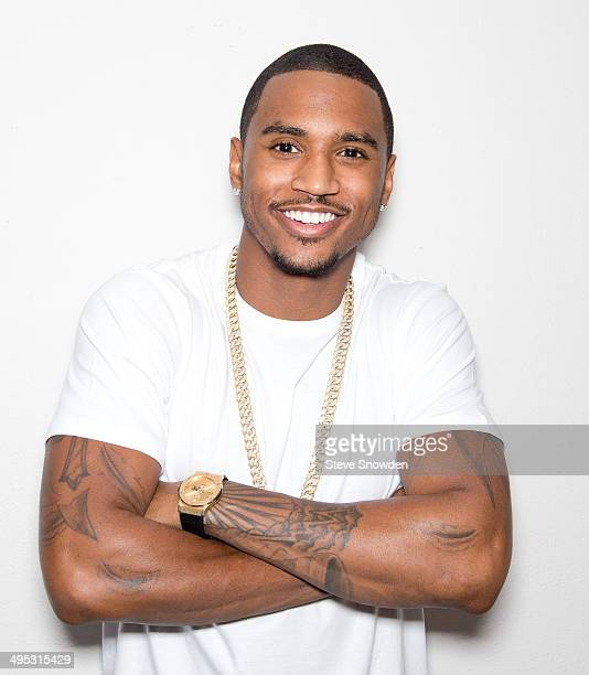 B artist Trey Songz poses backstage following his performance at Route 66 Casinos Legends Theater on May 23 2014 in Albuquerque New Mexico