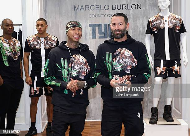 Artist Tyga and Designer Marcelo Burlon x and artist Tyga attend Tyga Capsule Collection Launch at Saks Fifth Avenue on May 12 2016 in New York City