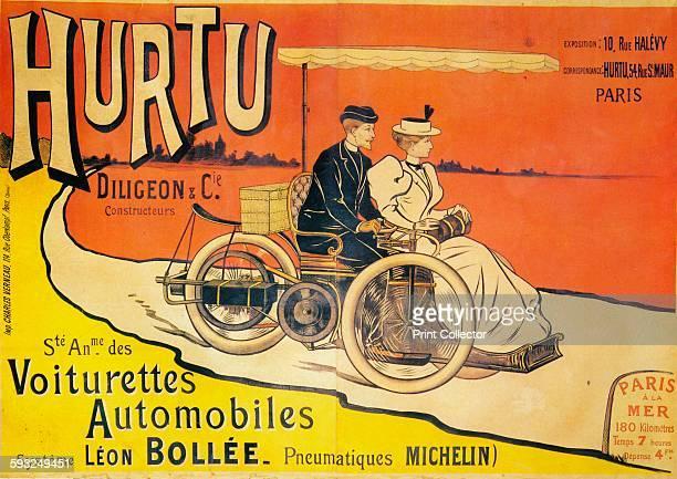Artist Unknown Advertisement for Hurtu cars circa 1896 Hurtu began manufacturing LeonBollee tricars under licence in 1896