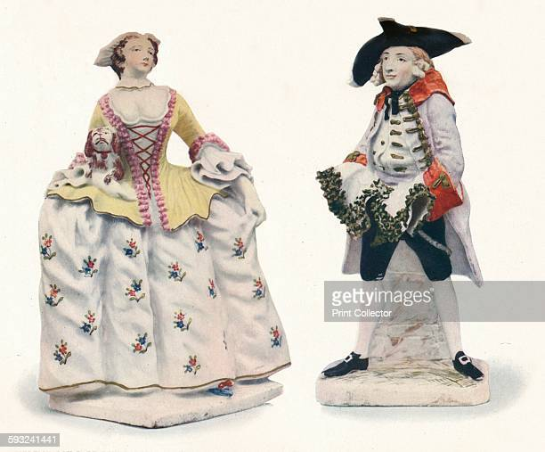 Artist Unknown 'Exceptionally Rare Bow Porcelain Figures Decorated in Colours' circa 1750 Kitty Clive as 'The Fine Lady' and Woodward as 'The Fine...