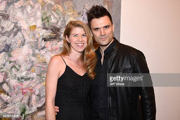 Artist Vanessa Prager and actor Kash Hovey attend Vanessa Prager 'Dreamers' Art Opening Hosted By Fred Armisen at Richard Heller Gallery on February...