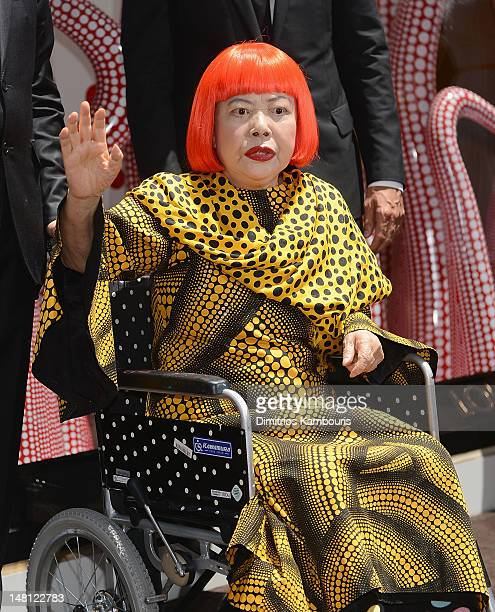 Artist Yayoi Kusama attends the Louis Vuitton And Yayoi Kusama Collaboration Unveiling at Louis Vuitton Maison on July 10 2012 in New York City