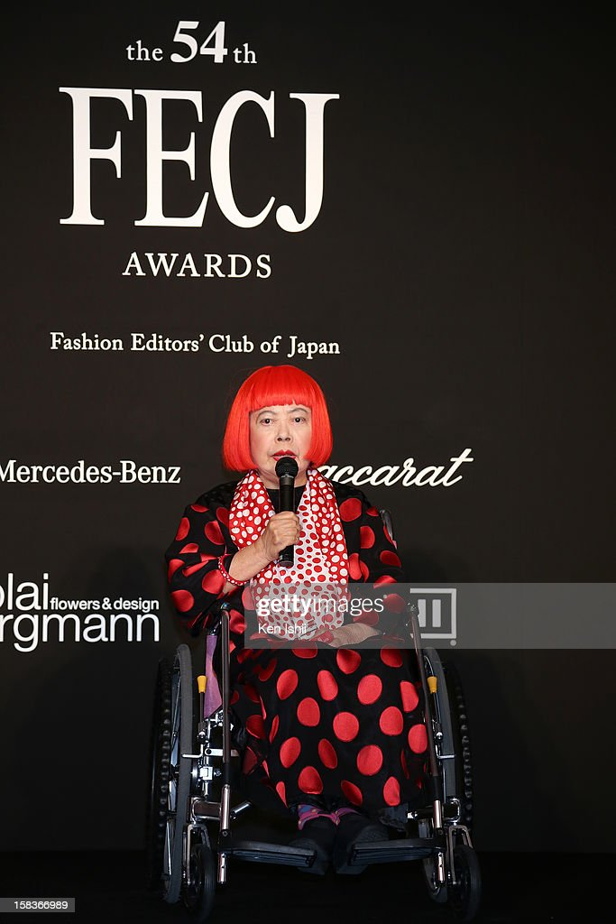 Artist Yayoi Kusama receives the FECJ Special Prize during the 54th Fashion Editors Club of Japan Awards at Mercedes-Benz Connection on December 14, 2012 in Tokyo, Japan.