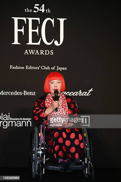 Artist Yayoi Kusama receives the FECJ Special Prize during the 54th Fashion Editors Club of Japan Awards at MercedesBenz Connection on December 14...