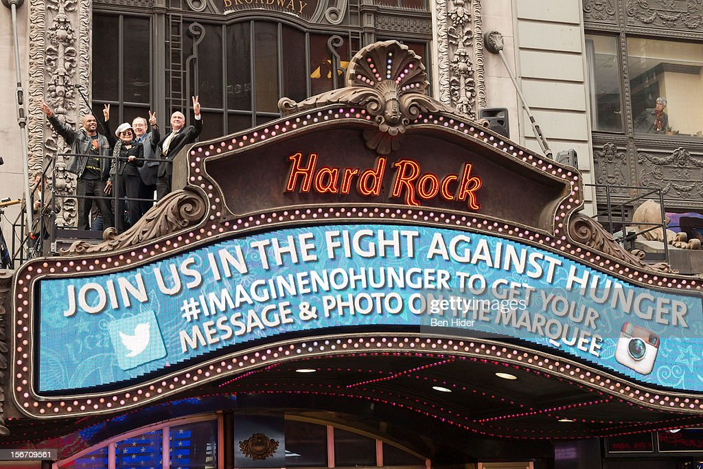 Artist Yoko Ono and Darryl 'DMC' McDaniels attend the 5th annual Imagine There's No Hunger Campaign launch at the Hard Rock Cafe, Times Square on November 19, 2012 in New York City.
