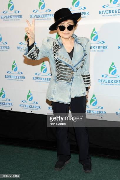 Artist Yoko Ono attends the 2013 Riverkeeper's Fishermen's Ball at Pier 60 on April 16 2013 in New York City