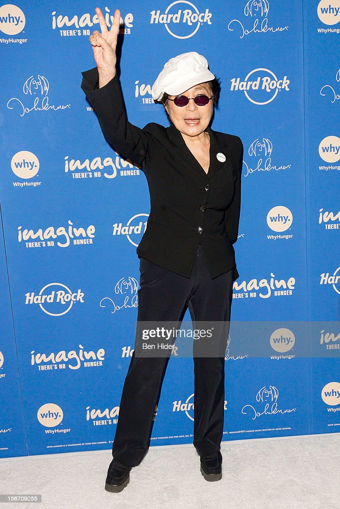 Artist Yoko Ono attends the 5th annual Imagine There's No Hunger Campaign launch at the Hard Rock Cafe, Times Square on November 19, 2012 in New York City.