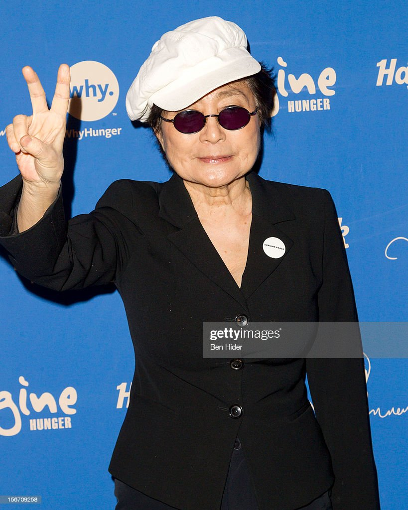 Artist <a gi-track='captionPersonalityLinkClicked' href=/galleries/search?phrase=Yoko+Ono&family=editorial&specificpeople=202054 ng-click='$event.stopPropagation()'>Yoko Ono</a> attends the 5th annual Imagine There's No Hunger Campaign launch at the Hard Rock Cafe, Times Square on November 19, 2012 in New York City.