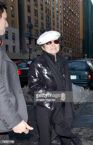 Artist Yoko Ono returns to her home in the Dakota building February 16 2007 in New York City