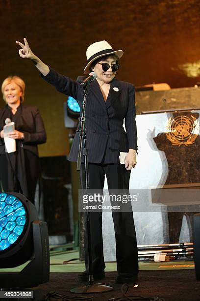 Artist Yoko Ono speaks on stage at the UNICEF launch of the #IMAGINE Project to celebrate the 25th Anniversary of the rights of a child at United...