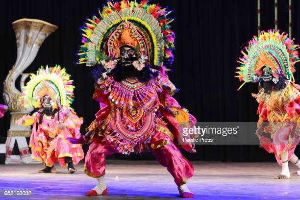 Artistes from Purulia district of West Bengal performs Chhau dance at 'Chhau Parva' organised by Sangeet Natak Akademi New Delhi in association with...