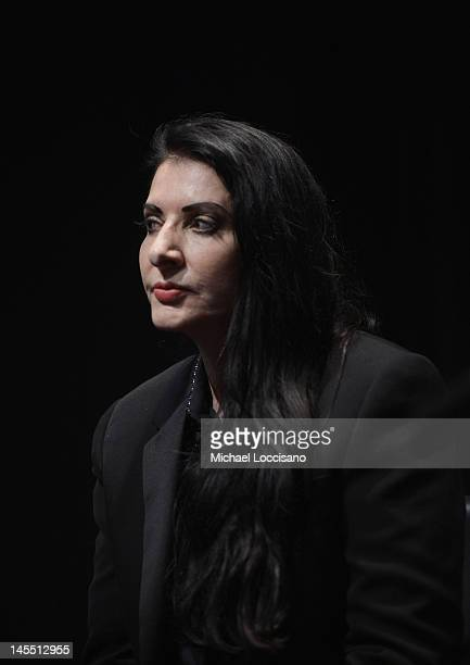 Artist/film subject Marina Abramovic takes part in a QA following the HBO Documentary Screening Of 'Marina Abramovic The Artist Is Present' at MoMA...