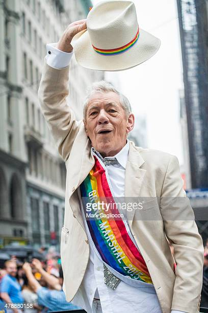 Artist/Grand Marshall Sir Ian McKellen attends the New York City Pride March on June 28 2015 in New York City