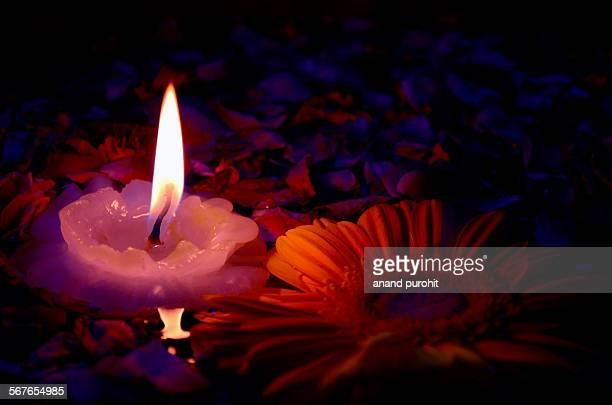 Artistic Candle Flower Arrangement