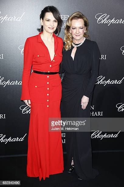 Artistic Director and Co President of Chopard Caroline Scheufele and Juliette Binoche attend The Garden of Kalahari Movie Presentation at Theatre du...