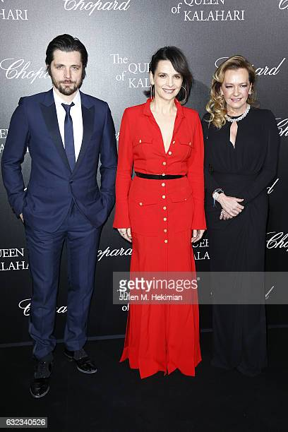 Artistic Director and Co President of Chopard Caroline Scheufele Juliette Binoche and Raphael Personnaz attend The Garden of Kalahari Movie...