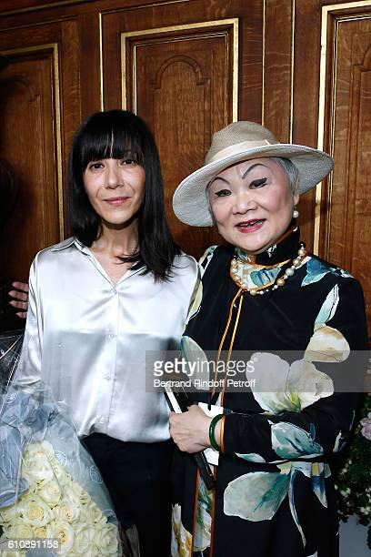 Artistic Director and Stylist of Lanvin Women Bouchra Jarrar and Owner of Lanvin Shaw Lan Wang pose after the Lanvin show as part of the Paris...