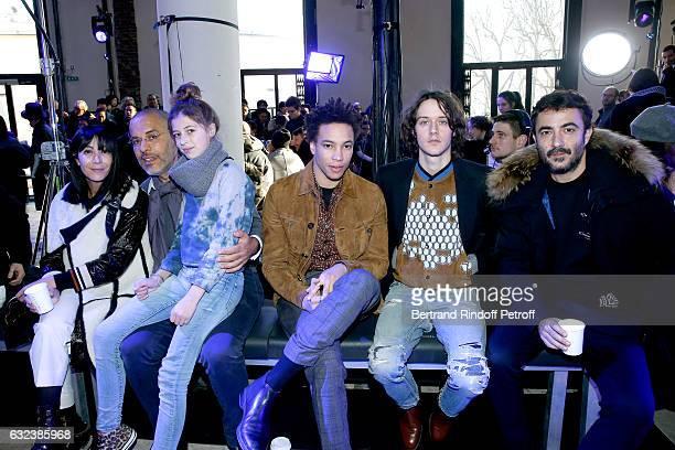 Artistic Director and Stylist of Lanvin Women Bouchra Jarrar Galerist Kamel mennour his daughter actor Corentin Fila actor Cesar Domboy and his...